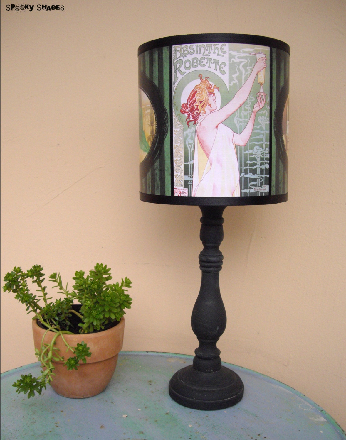 absinthe lamp shade lampshade bohemian decor by spookyshades. Black Bedroom Furniture Sets. Home Design Ideas