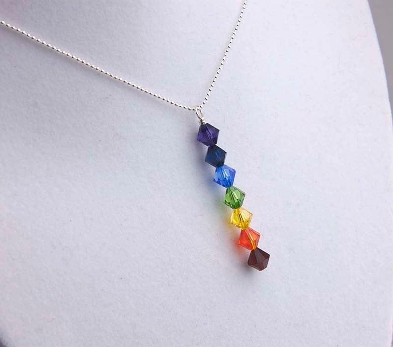chakra necklace rainbow pendant necklace by jularee