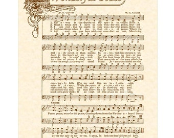 WONDERFUL PEACE 8x10 Antique Hymn Vintage Verses Sheet Music Natural Parchment Sepia Brown Faraway Spirit Melody Calm Love Eternity Glory