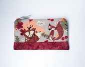 Zipper Pouch, Pencil Case or Makeup Bag - Harvest Foxy Forest in brown, berry, peach, cream and gray with Handmade Felt Fox Embellishment