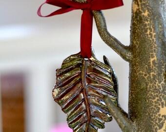 Ceramic Tree Ornament.  Raku Ceramic Pendant. Red Fall Leaf . Hand Built Ceramics. Christmas Gift.