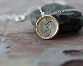 initial necklace, delicate initial necklace, dainty necklace,  mixed metals,  cursive script, simple necklace, personalized bridesmaids gift