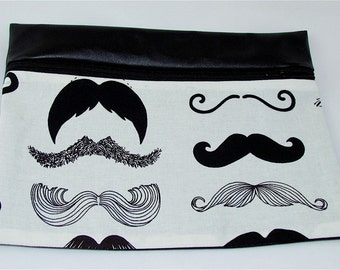 CLUTCH - Staches  (Pleather/ Cotton) **handmade**Kindle**iPad mini** Case**