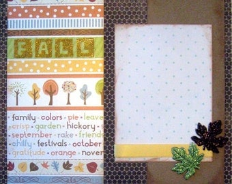 Scrapbooking Layout Kit Fall Premade 2 Pages Scrapbook Autumn Leaves