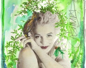 Marilyn Monroe - limited edition mixed media photographic print luxurious notecard most suitable for framing - from MUSAS series by CASIMIRA