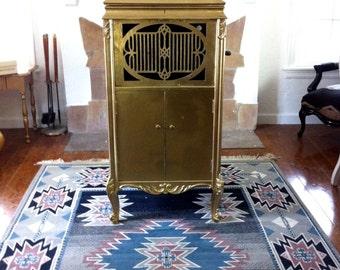 Antique Metallic Gold 1923 Brunswick Phonograph Cabinet Bar