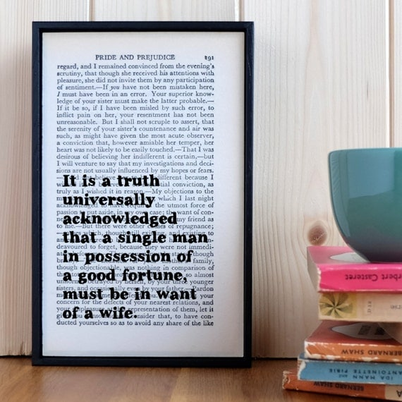 """Pride and Prejudice Quote Upcycled Book Art """"It Is A Truth Universally Acknowledged..."""""""