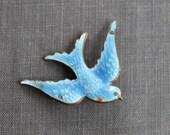 RESERVED // Victorian Enamel Swallow Wedding Brooch