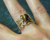Vintage Adjustable Tigers Eye Filigree Open Work Ring