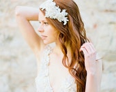 Bridal Headband, Lace and Crystal Headpiece, Lace headband, Vintage inspired Wedding Headpiece, Bridal Flapper - Style 320
