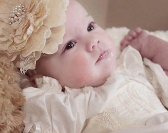Baby Girl and Older Girl Baptism Dedication Communion Ivory Angel Dress with Monogrammed Dupioni Silk Sash