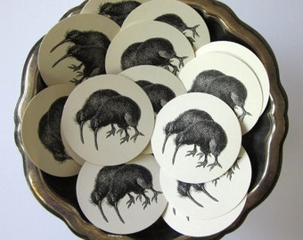 Kiwi Bird Tags Round Paper Gift Tags Set of 10