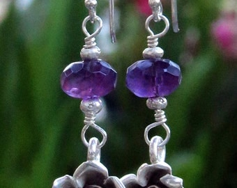 50% OFF, Amethyst Earrings, Hill Tribe Silver Flower Charms