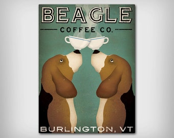 Personzalized BEAGLE Coffee Tea Company Ready-to-Hang Stretched Canvas Panel Signed