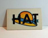 Vintage Flash Card HAT Picture Card Nursery Decor Ephemera Yellow GO Word Flashcard
