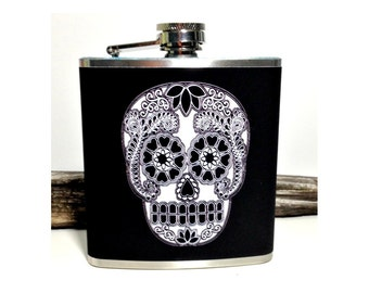 Sugar Skull Flask, Day of the Dead Skulls, Dia de los Muertos, Bridesmaid Flask, Edgy Groomsmen, Wedding Gift