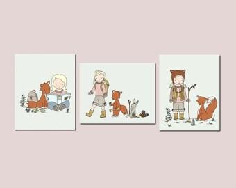 Woodland Girl Art Prints, Woodland Nursery Decor, Blonde Girl and Fox Art, Set Of 3 Prints, Kids Wall Art, BLONDE