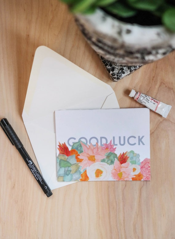 Floral Greeting Card Stationery Set: Good Luck set of 5 note cards *SALE -- 50% OFF*