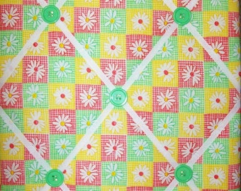 dark pink yellow green gingham check white daisy flower floral french memo bulletin photo board 16 X 20