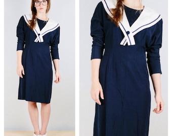 80s Sailor Collar Dress, Nautical Navy Ahoy, Sailor Tie Bow, Medium, Large XL, Ribkoff