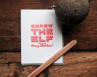 HOL-143 Screw the Elf Holiday letterpress card