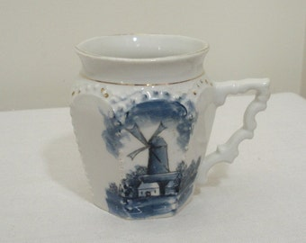 Vintage Blue & White Dutch Windmill Mug