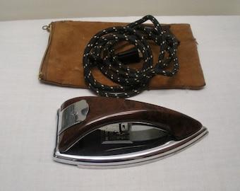Vintage GE Folding Travel Iron in Suede Bag