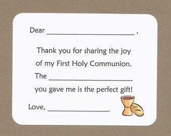 First Holy Communion - Fill in the Blanks Thank You Notes