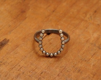 Just a Little Luck--Oxidized Sterling Silver Horseshoe Ring--Dotted--Handcrafted--Dark Finish