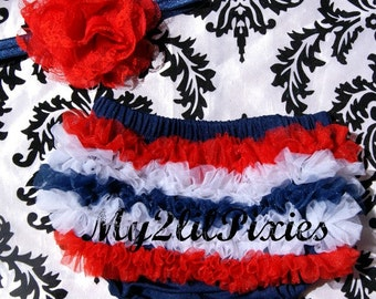 Patriotic Ruffle Bum Baby Bloomer, Red White Navy Blue Baby Girl Set-Ruffle Satin Bloomer and Flower headband- 4th of July-MY2Lilpixies