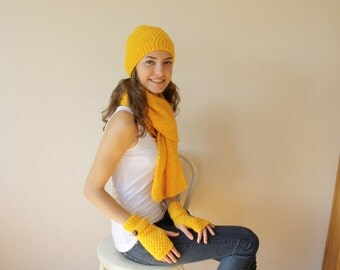 Handknit Yellow Wool Warm set For Women For My Mom perfect Christmas Gift