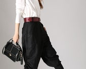 Casual Black Tapered pants - Linen Capri Pants  with patchwork pocket - tapered trousers (850)