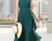 Dark green dress woman chiffon dress custom made maxi  dress sleeveless dress (921)
