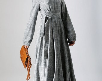 loose dress,mothers day gift, gray dress, linen dress, linen clothing,women dresses, long sleeve dress, maxi dress,  boat neck dress (790)