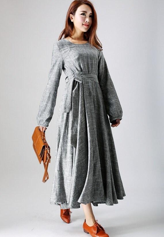 loose dress,mothers day gift, gray dress, linen dress, linen clothing,women dresses, long sleeve dress, maxi dress,  boat neck dress (790)