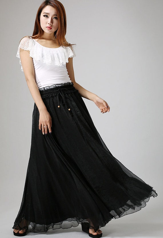 black chiffon skirt -  woman Maxi skirt swing skirt with ruffle waist detail - A line skirt, black skirt, long skirt beach, long skirt (897)