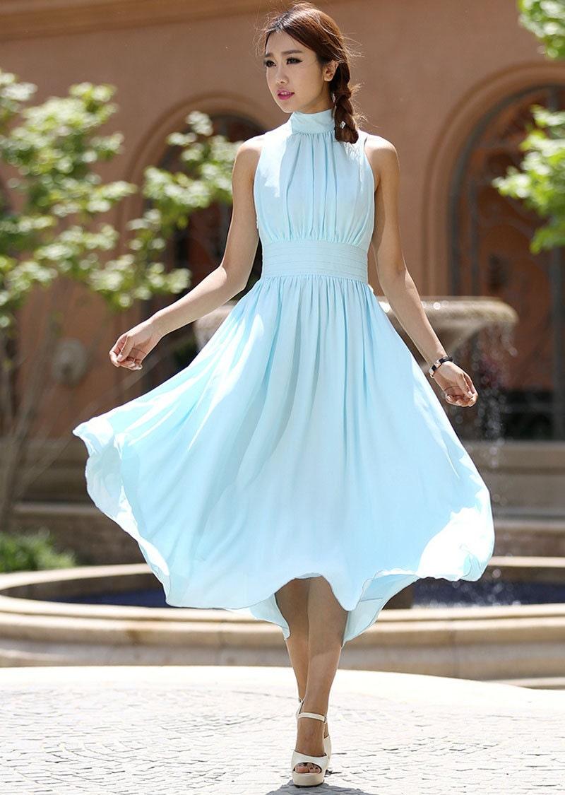 Light Blue Midi Dress Women Maxi Chiffon Dress With By