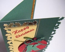 PERSONALISED CHRISTMAS CARD, The Bauble One. Red, Green & Gold Traditional Hand Crafted Greeting Card. Handmade in Ireland. A6 size.