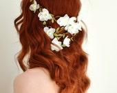 White flower crown, boho bridal hair, woodland wedding head piece, floral hair wreath, floral crown, bridal hair accessory - Pandora