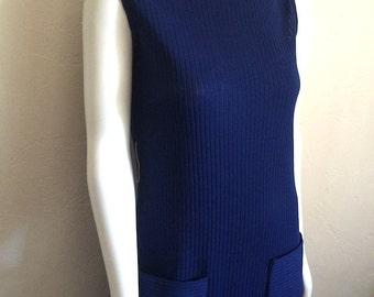 Vintage Women's 60's Dress, Mod, Knit, Blue, Sleeveless, Full Length (M)