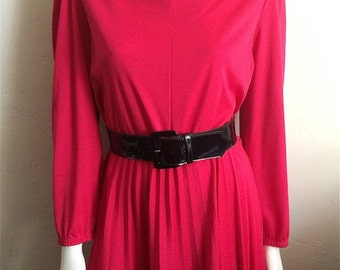 Vintage Women's 70's Dress, Fuchsia, Long Sleeve, Pleated by Blair (M)