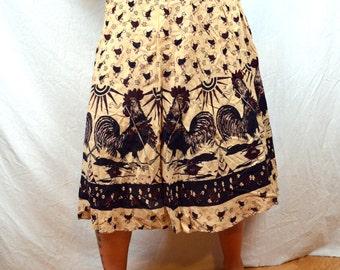 RARE 1970s Vintage Hippie Wrap Around Skirt - Rooster