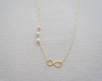 gold vermeil over sterling silver infinity necklace with pearl - bridesmaids gift, wedding, modern, casual, everyday, layered necklace