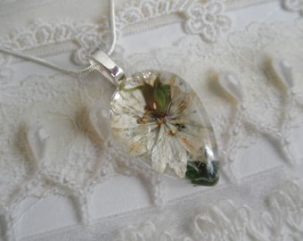 White Love In The Mist,Lush Green Feather Ferns Glass Teardrop Pressed Flower Pendant-Nature's Art-Symbolizes Love,Affection-Gifts For 25