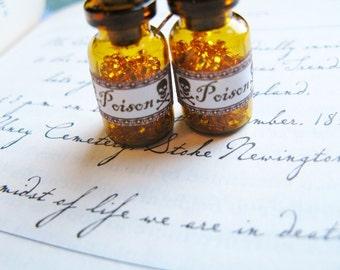 Poison Bottle Earrings - Skull and Crossbones - Miniature Amber Apothecary Glass Jar Earrings
