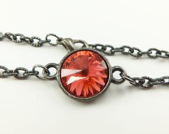 Dark Peach Crystal Bracelet Peach Jewelry Dark Silver Bracelet