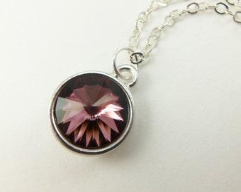 Mauve Necklace Swarovski Crystal Necklace Sterling Silver Mauve Crystal Dark Pink