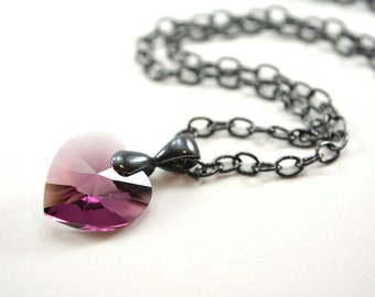 Amethyst Birthstone Necklace February Necklace Purple Crystal Heart Necklace Gunmetal Dark Silver Heart Pendant