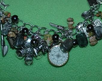 Zombie Apocolypse Charm Bracelet , Prepper Charm Bracelet , Zombie Responce Team Bracelet
