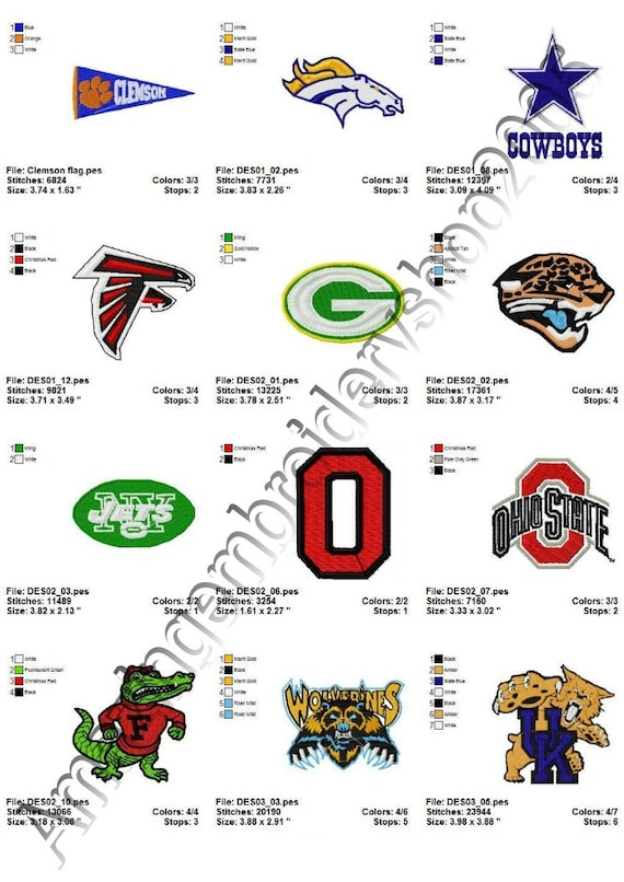 Instant Download Nfl Logo 3 Embroidery By Amazingshop2005